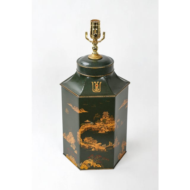 Vintage English Export Hexagonal Tea Caddy Hand-Painted Chinoiserie Landscape Lamp For Sale - Image 4 of 9