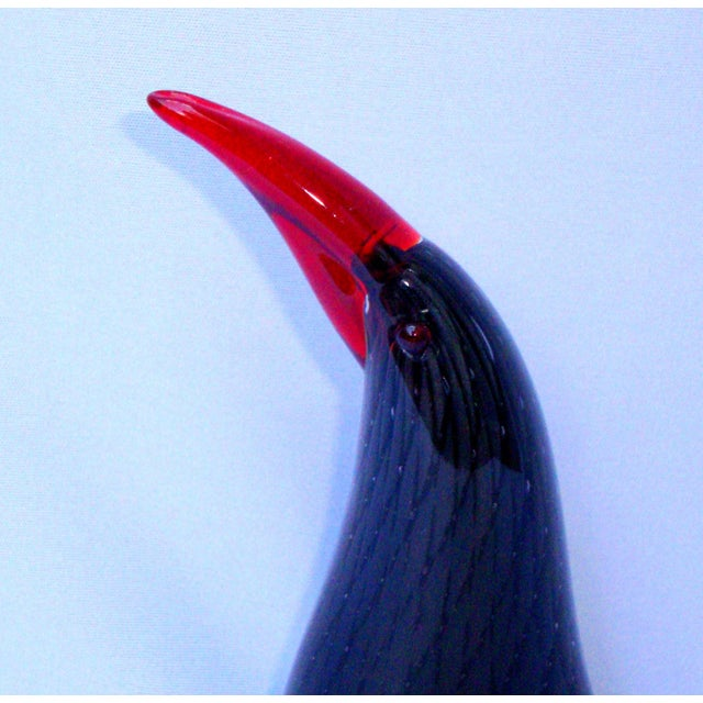 Murano Italian Art Glass Black Red Bird - Image 3 of 11
