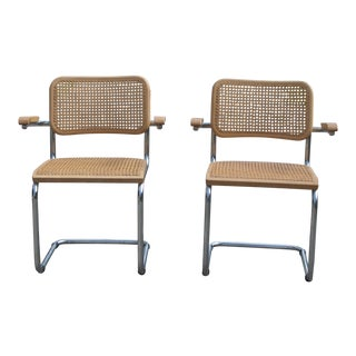 1970s Mid-Century Modern Marcel Breuer Cesca Arm Chairs - a Pair For Sale