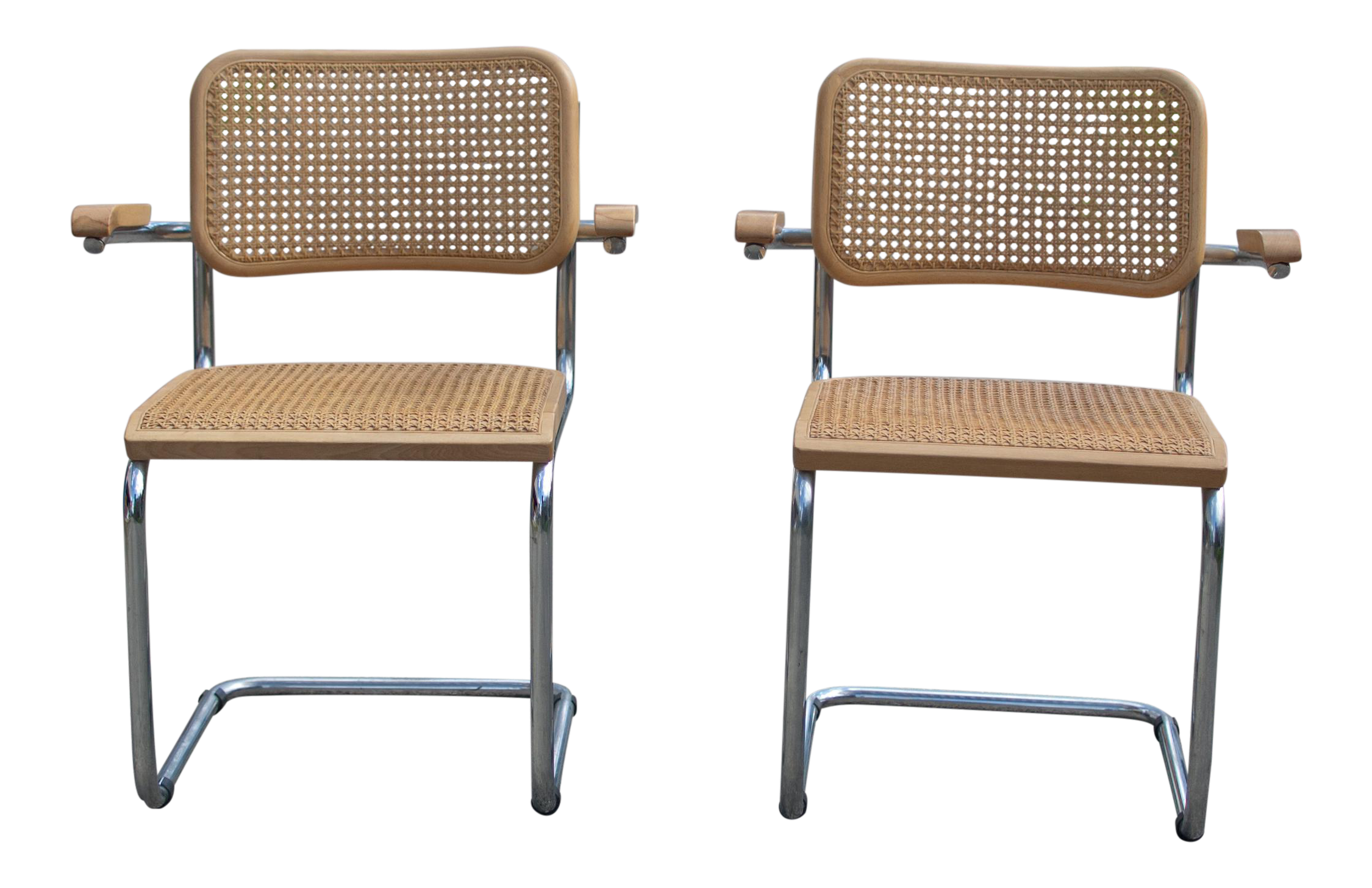 1970s Mid Century Modern Marcel Breuer Cesca Arm Chairs   A Pair