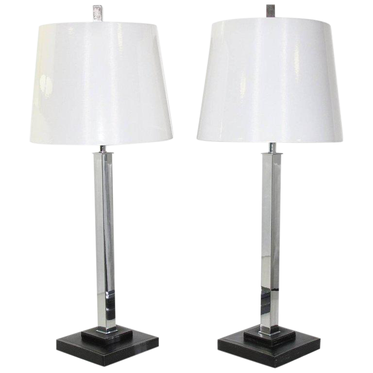 Nessen Studio Mid Century Chrome U0026 Leather Table Lamps   A Pair