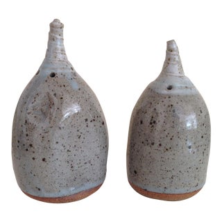 Mid-Century Sculptural Gray Ceramic Salt & Pepper Shakers - A Pair