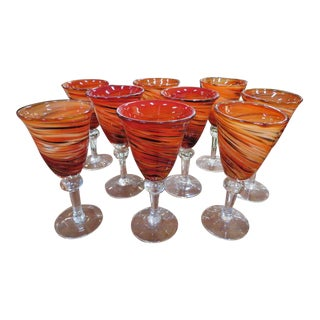 Vintage 1960s Mid-Century Modern Hand Blown Orange Art Glass Wine Stems - Set of 9 For Sale