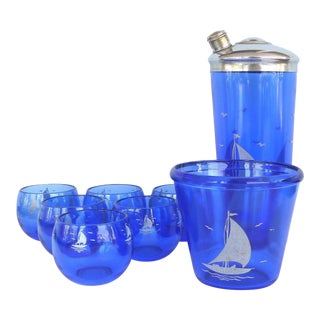 1930s Cobalt Martini Shaker, Ice Bucket & Glasses - Set of 8 For Sale