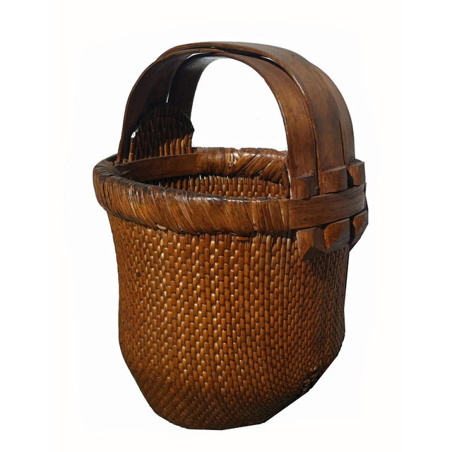 Antique Chinese Hand-Woven Basket For Sale - Image 4 of 5