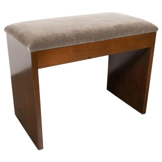 Art Deco Machine Age Bookmatched Walnut and Slate Gray Mohair Bench For Sale