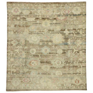 Contemporary Turkish Oushak Rug - 8′1″ × 9′ For Sale