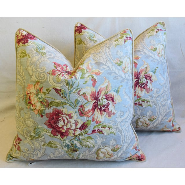 "French Floral Linen & Velvet Feather/Down Pillows 24"" Square - Pair For Sale - Image 13 of 13"