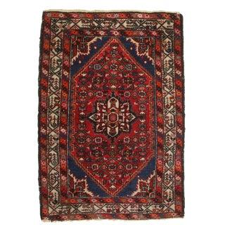 Vintage Hand Knotted Wool Persian Hamedan Rug - 3′5″ × 4′11″ For Sale