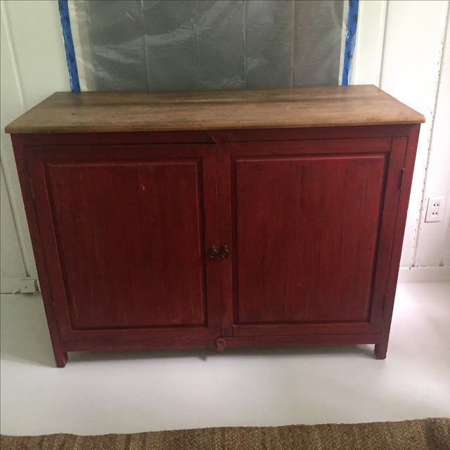 Red Farm Style 2 Piece Pine China Cabinet For Sale - Image 5 of 11