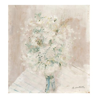 'Baby's Breath, Cream and White', by Antun Motika, Paris Post-Impressionist Still Life, 1925 For Sale