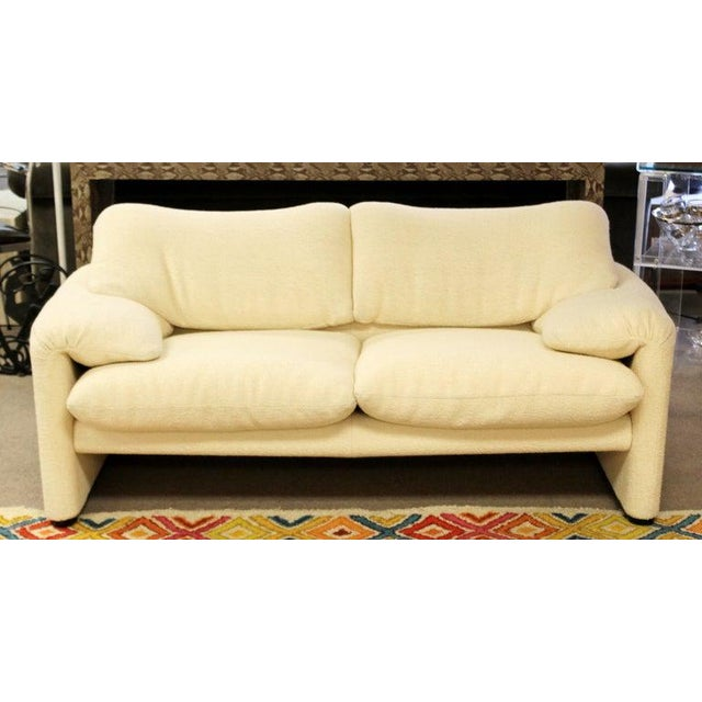 For your consideration is a fabulously sculptural, Maralunga white loveseat, by Magistretti for Cassina, imported and...