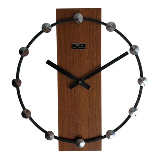 Mid Century Wall Clock by Prim For Sale