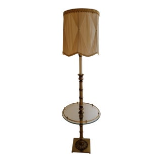 Stiffel Hollywood Regency Brass and Glass Floor Lamp Table For Sale