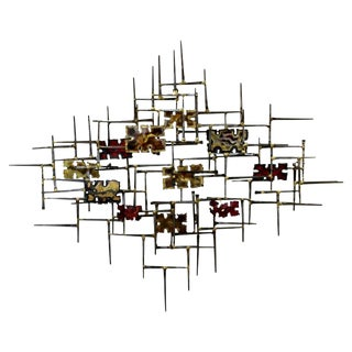 Mid-Century Modern Jere Schmidt Era Brutalist Nail Enamel Wall Art Sculpture For Sale