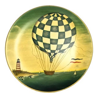 Old World Hot Air Balloon Pottery Plate For Sale