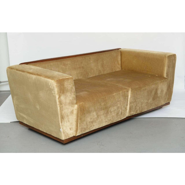 Contemporary Beautiful Saccaro Velvet Love Seat With Walnut Trim, 21st Century For Sale - Image 3 of 10