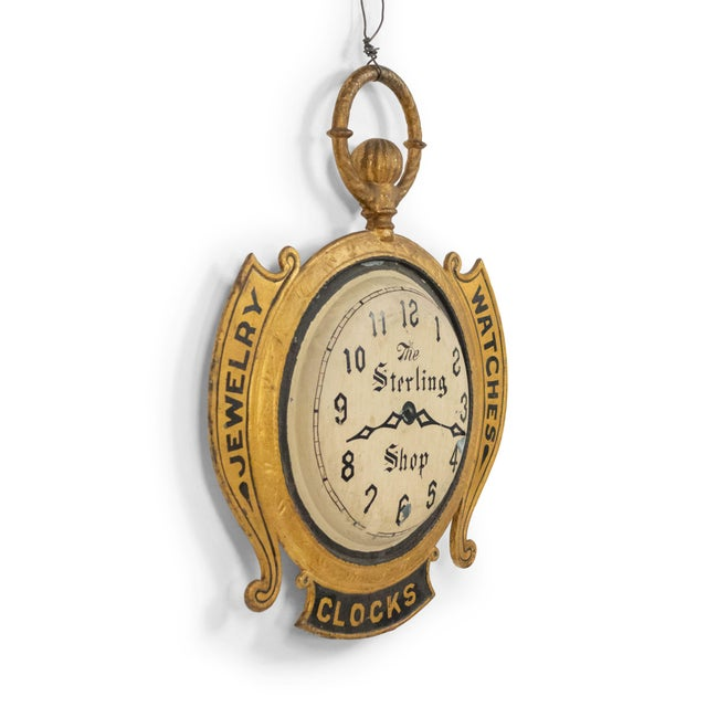 19th Century American Country Tole Gold Clock Sign For Sale - Image 5 of 7