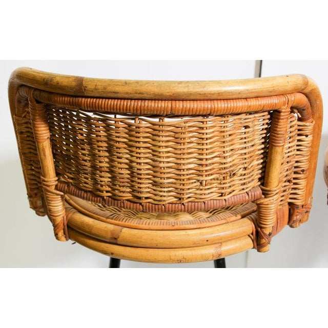 Vintage 1960s Swivel Woven Rattan Bar Stools - a Pair For Sale - Image 10 of 13