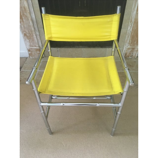 Mid-Century Chrome Arm Chair in Yellow - Image 6 of 8