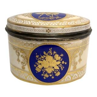 Antique Dresden Porcelain Box With Silver Interior, Circa 1891-1901 For Sale