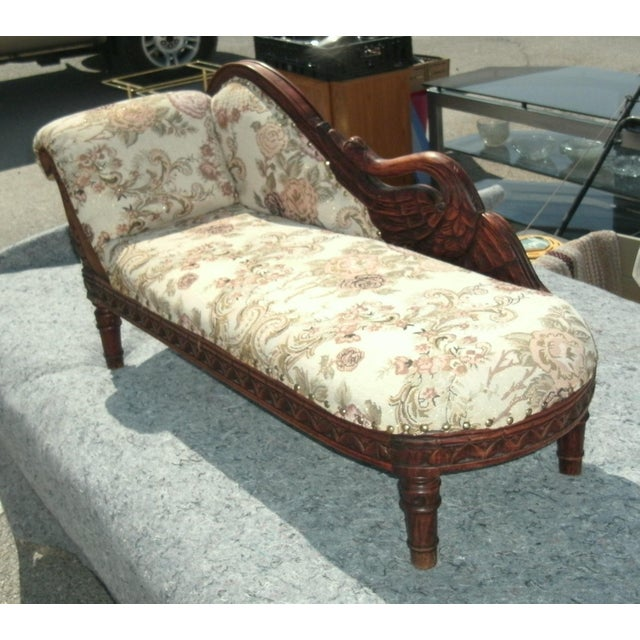 Pink Child Size Victorian Style Swan Chaise Lounge For Sale - Image 8 of 8
