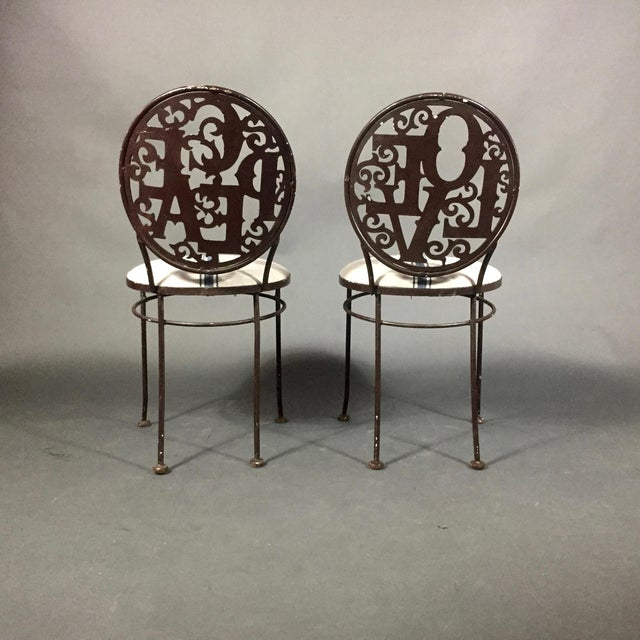 Pair Mid-Century Peace Love Garden Chairs, Grainsack Covers For Sale - Image 9 of 10