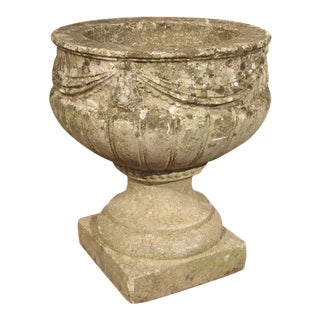 Vintage Cast Stone Drapery Swag Planter From Belgium For Sale