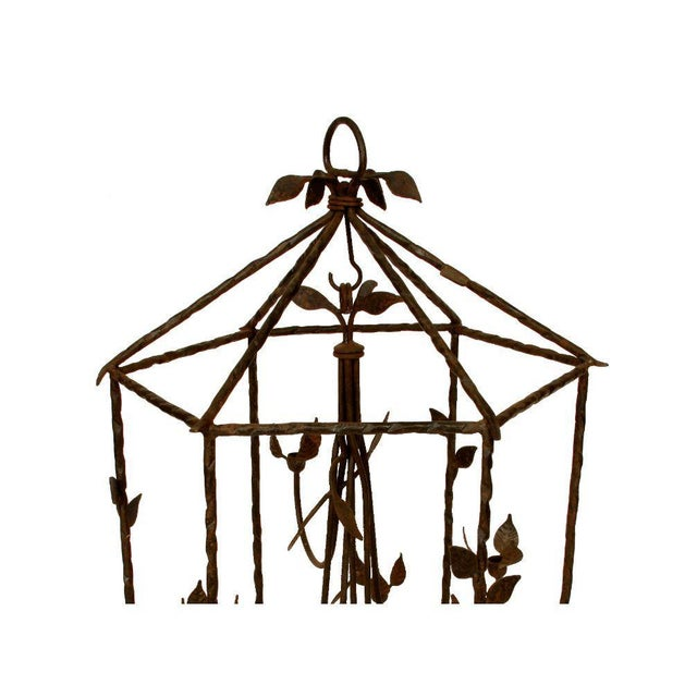 Mid-Century Modern Large Iron Foliate Lantern Unelectrified For Sale - Image 3 of 5