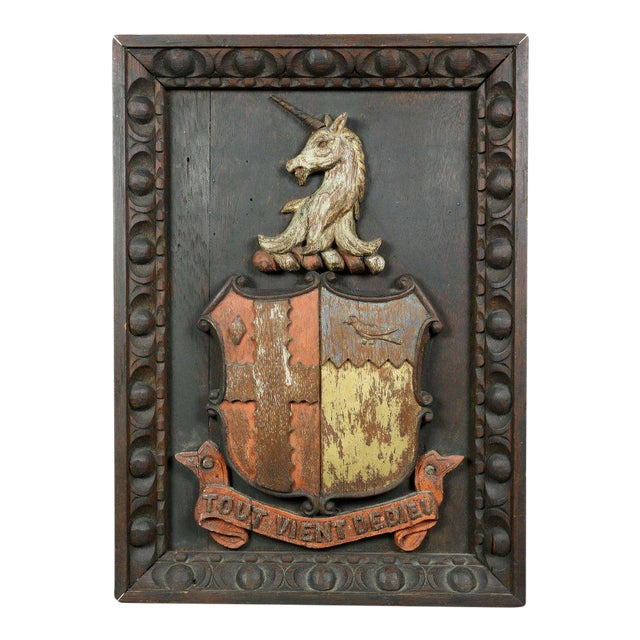 Two European Carved and Painted Oak Coats of Arms For Sale