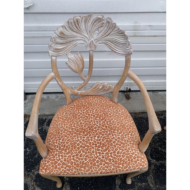 Tan 1970s Vintage Lime Wash Floral Carved Dining Chairs in the Manner of Phyllis Morris - Set of Four For Sale - Image 8 of 10