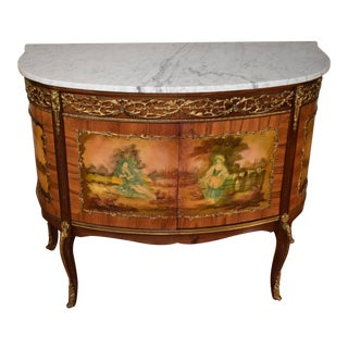 1930s French Louis XV Marble Top Walnut & Satinwood Hand Painted Side Cabinet For Sale