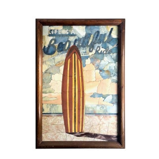 Handcut Marble Inlay Surfboard Wall Art For Sale