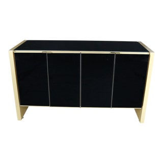 Ello Black Glass and Gold Anodized Aluminum Small Server Credenza Cabinet For Sale