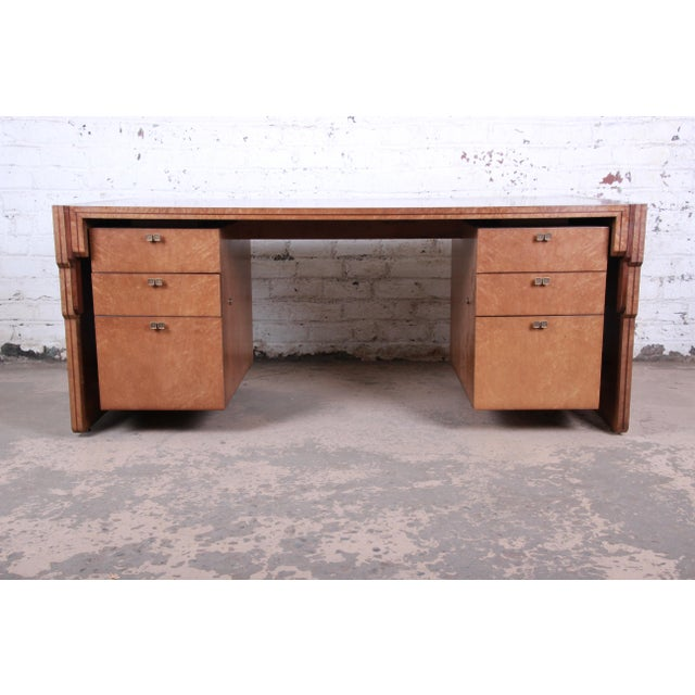An extremely rare and exceptional Art Deco executive desk designed in 1984 by Pierre Paulin for Baker Furniture. The desk...