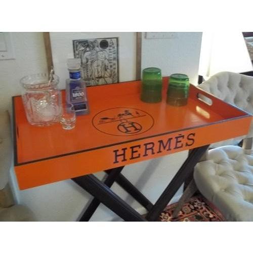 Vintage Hermes Inspired Orange & Brown Large Bar Tray - Image 5 of 5