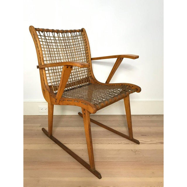 A pair of rawhide and bent ashwood armchairs by Vermont Tubbs Furniture. A very cool and rare model.