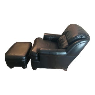 Hancock and Moore Caress Black Chair and Ottoman For Sale