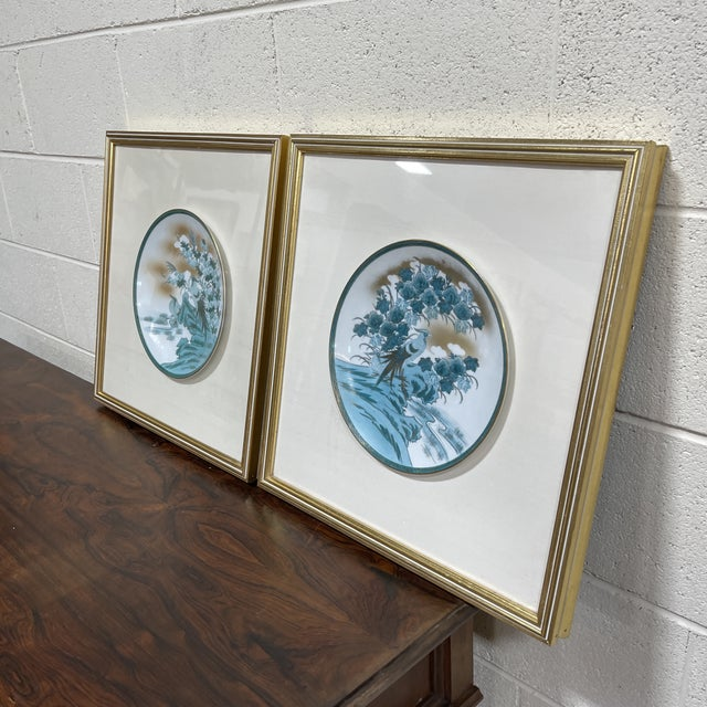 This is a delish pair of professionally framed (shadow box style under glass and mounted in a cream colored linen) hand...