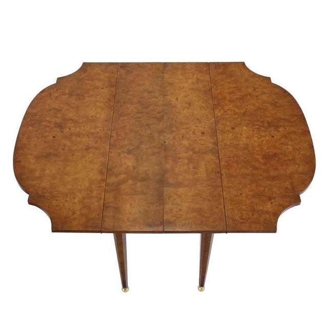 Burl Wood Drop Leaf Dining Table on Brass Balls Feet For Sale - Image 4 of 8