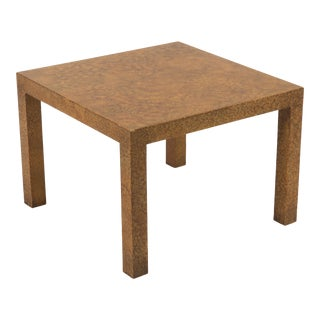 Heritage Henredon Fine Furniture Parsons Side Table Faux Tortoise Oil Spot Finish Baughman 1970s For Sale