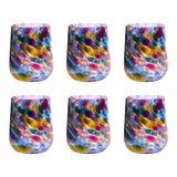 Image of Brad Smith Studios Stemless Wine Glasses, Rainbow Mix - Set of 6 For Sale