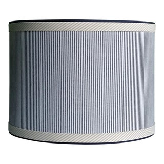 Blue and White Stripe Cotton Off White Trim Coastal Drum Lampshade For Sale