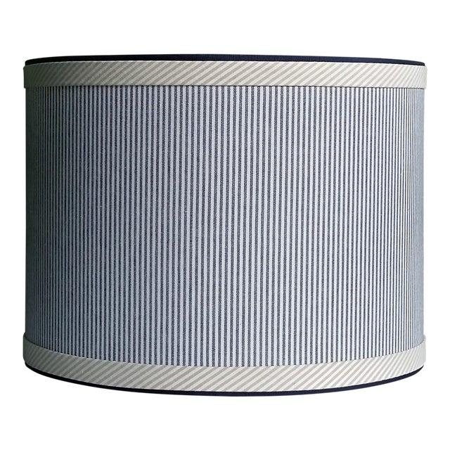 Blue and White Stripe Cotton Off White Trim Coastal Drum Lampshade For Sale