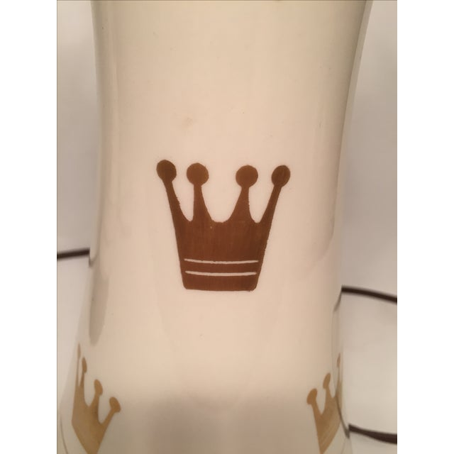 Porcelain & Glass Crown Lamps - Pair - Image 5 of 5