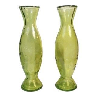 Mid Century Green Glass Vases - a Pair For Sale
