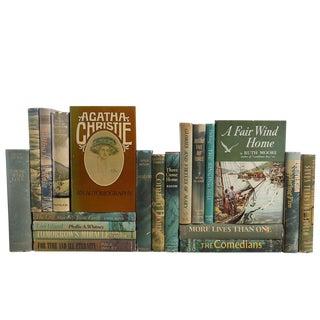 Mid-Century Novels in Olive - Set of 20 For Sale