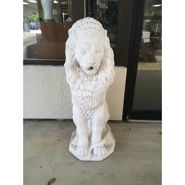 Decorative White Stone Lion Fountain For Sale - Image 4 of 4