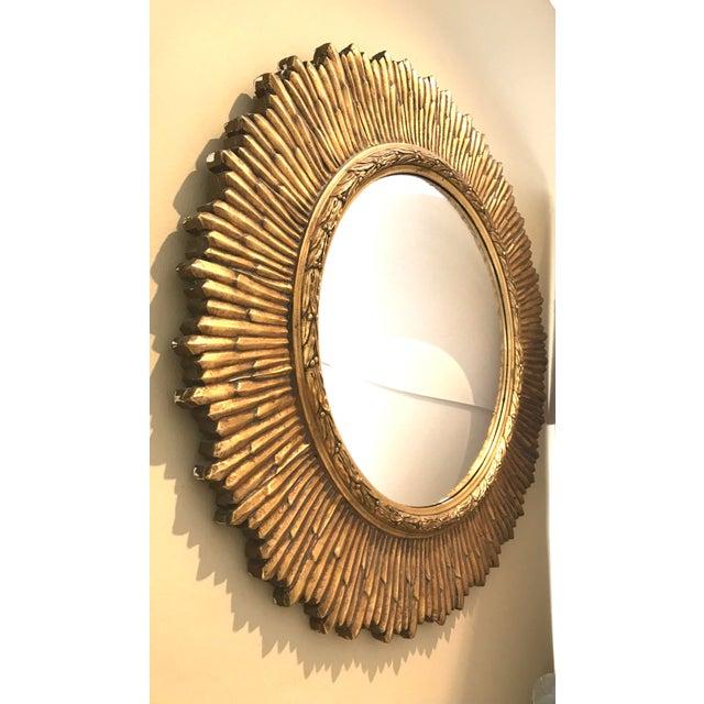 Large Vintage Gilt Wood Sunburst Convex Mirror - Image 2 of 3