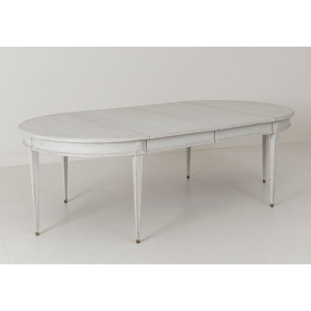 Swedish Gustavian Style Two-Leaf Extension Dining Table With Original Brass Feet For Sale - Image 4 of 11